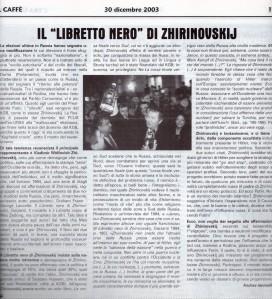 """IL """"LIBRETTO NERO"""", Il Caffè, 30 dicembre 2003, Anno VI n.48 (274)"""